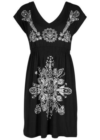Sukienka plażowa bonprix czarno-biały z nadrukiem