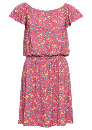 Sukienka shirtowa bonprix pastelowy dymny różowy z nadrukiem