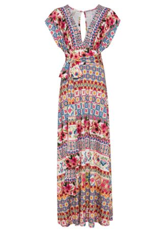 Długa sukienka z wiązanym paskiem bonprix różowo-jasnoniebieski z nadrukiem