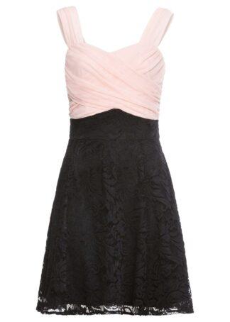 Sukienka z koronkową częścią spódnicową bonprix różowo-czarny