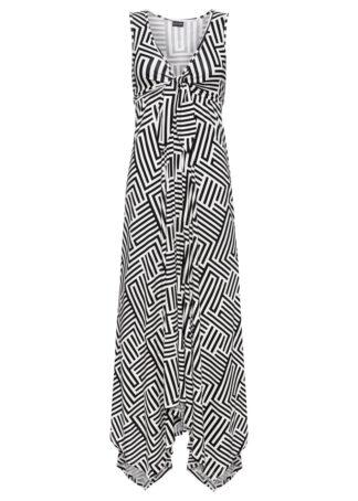 Sukienka z dżerseju z dłuższymi bokami bonprix czarno-biel wełny z nadrukiem