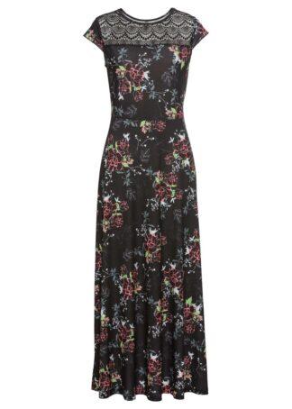 Długa sukienka shirtowa bonprix czarny w kwiaty