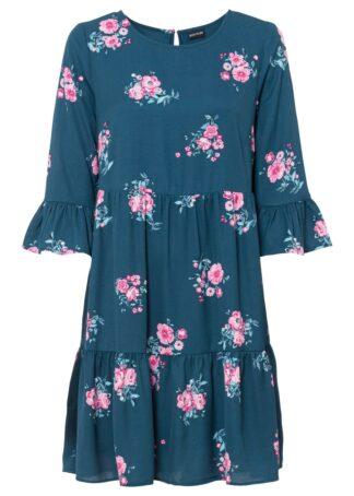 Sukienka z falbanami bonprix niebieskozielony w kwiaty