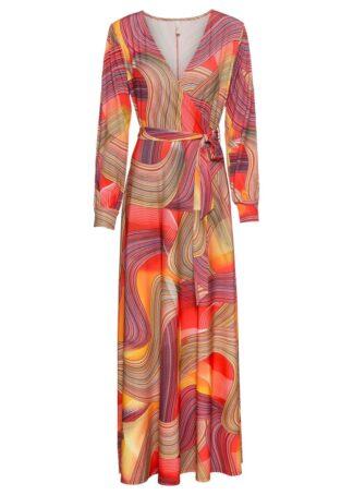 Długa sukienka kopertowa bonprix pomarańczowo-jasnoróżowy z nadrukiem