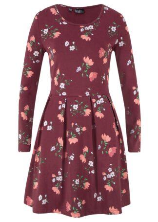 Sukienka z dżerseju w kwiaty bonprix czerwony klonowy w kwiaty