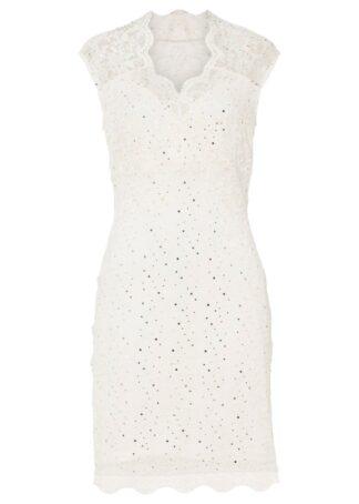 Sukienka koronkowa z cekinami bonprix biel wełny