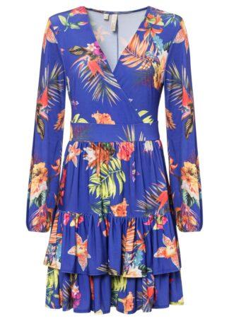 Sukienka z falbanami bonprix niebieski w kwiaty