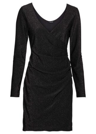 Sukienka kopertowa z połyskiem bonprix czarny