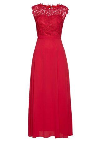 Długa sukienka wieczorowa z koronką bonprix czerwony