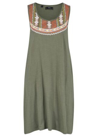 Sukienka z dżerseju na ramiączkach bonprix oliwkowy
