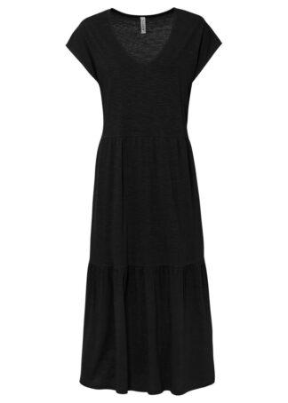 Sukienka shirtowa z falbanami bonprix czarny
