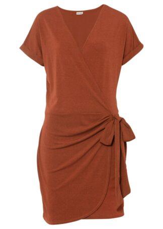 Sukienka z założeniem kopertowym bonprix rdzawobrązowy