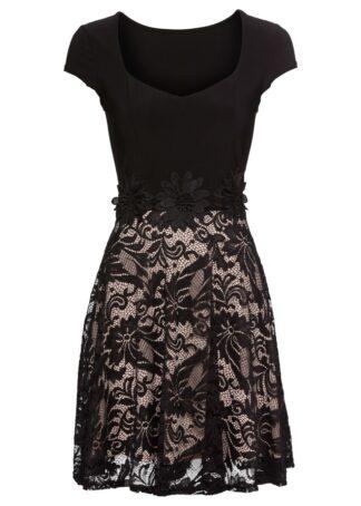 Sukienka z koronką bonprix czarno-pudrowy jasnoróżowy