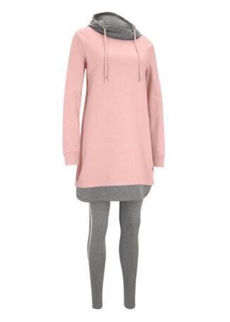 Długa bluza dresowa z legginsami (2 części) bonprix stary jasnoróżowy - szary melanż