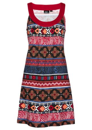 Sukienka z dżerseju z bawełny bonprix ciemnoczerwony z nadrukiem
