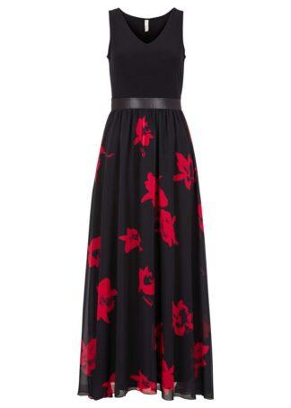 Sukienka maxi w kwiaty bonprix czarno-czerwony