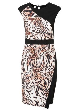 Sukienka ołówkowa bonprix czarno-beżowy leo