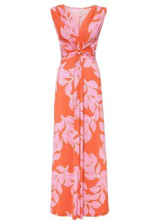 Letnia długa sukienka bonprix pomarańczowo-różowy w roślinny wzór