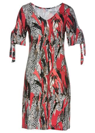 Sukienka shirtowa bonprix jasny łososiowy - czarny wzorzysty