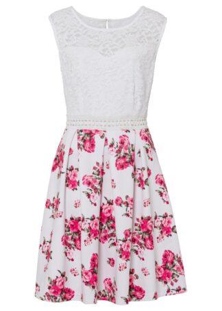 Sukienka bonprix biel wełny - jasnoróżowy w kwiaty