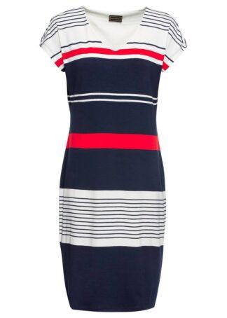 Sukienka z dżerseju w paski bonprix ciemnoniebiesko-biało-czerwony w paski