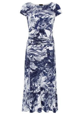 Sukienka z dżerseju z nadrukiem bonprix biało-ciemnoniebieski z nadrukiem
