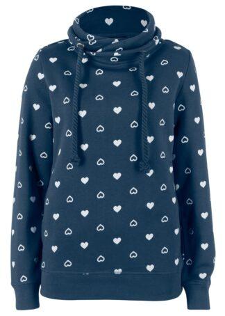 Bluza z wysokim kołnierzem bonprix ciemnoniebieski z nadrukiem