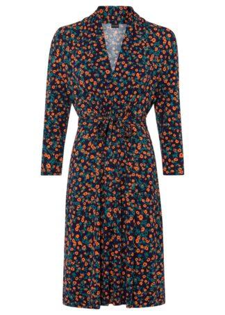 Sukienka z dżerseju z nadrukiem bonprix ciemnoniebieski w kwiaty