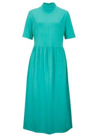 Sukienka maxi z dżerseju bonprix zielony oceaniczny
