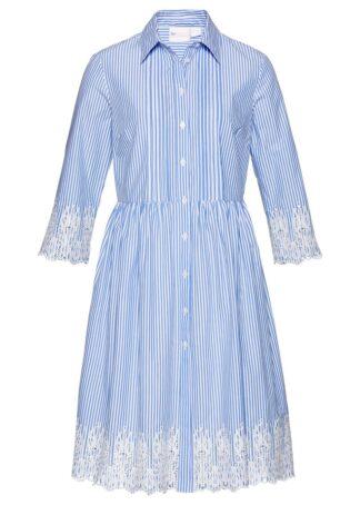 Sukienka szmizjerka z ażurowym haftem bonprix niebiesko-biały w paski