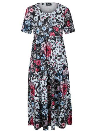 Sukienka shirtowa z nadrukiem bonprix czarny w kwiaty