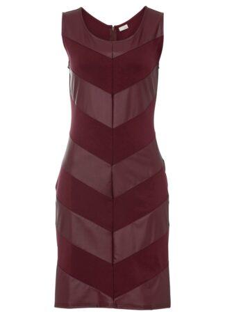 Sukienka z wstawką ze sztucznej skóry bonprix czerwony klonowy