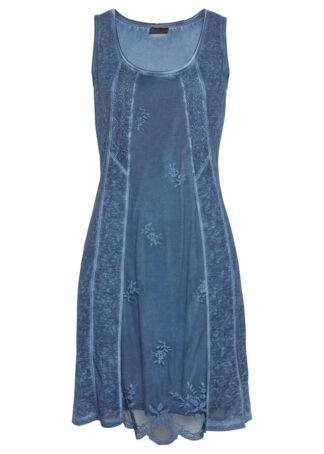 """Sukienka z dżerseju z efektem """"used look"""" bonprix niebieski dżins """"used"""""""