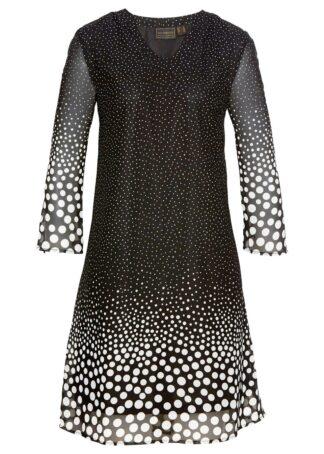 Sukienka z szyfonu bonprix czarno-biały z nadrukiem