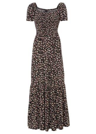 Długa sukienka z przyjaznej dla środowiska wiskozy z nadrukiem bonprix czarno-biel wełny w kwiaty