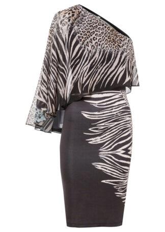 Sukienka one-shoulder bonprix czarny - leo z nadrukiem