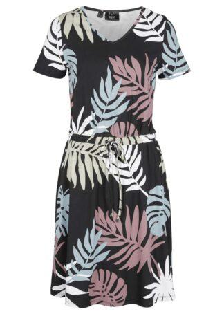 Sukienka z nadrukiem w palmy bonprix czarny z nadrukiem