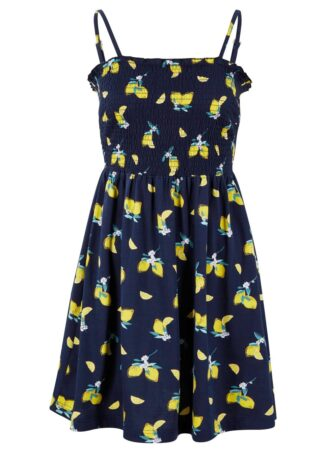 Sukienka z dżerseju na regulowanych ramiączkach bonprix ciemnoniebieski - cytryna