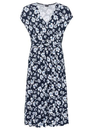 Sukienka z dżerseju bonprix ciemnoniebieski w kwiaty