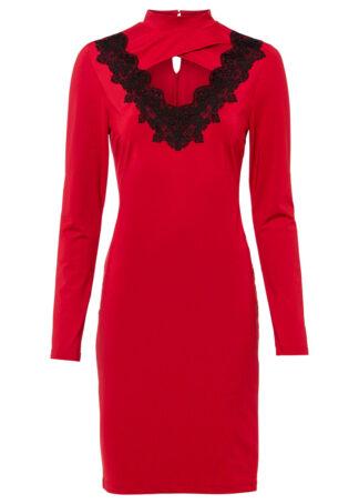 Sukienka z koronkową aplikacją bonprix ciemnoczerwono-czarny