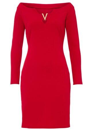 Sukienka z dekoltem carmen bonprix czerwony