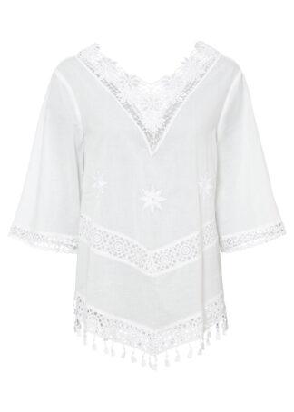 Bluzka tunikowa bonprix biel wełny
