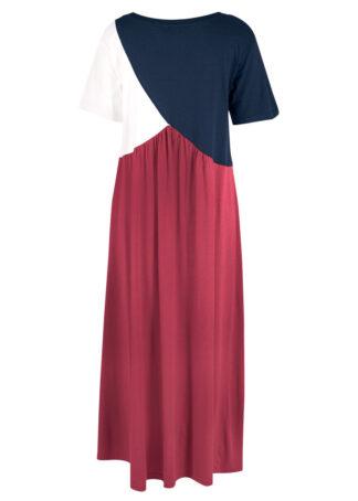 """Sukienka shirtowa """"colorblocking"""" bonprix dymny malinowy - ciemnoniebiesko-biel wełny"""