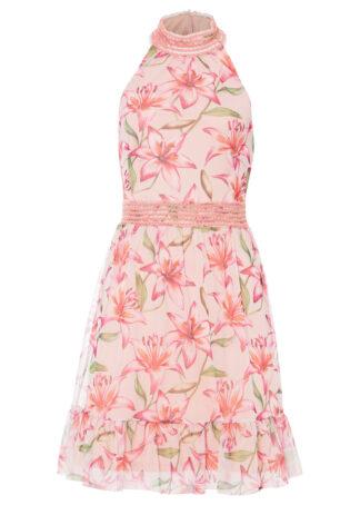 Sukienka z dekoltem halter i falbaną bonprix jasnoróżowy w kwiaty