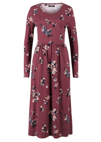Rozkloszowana sukienka midi z dżerseju