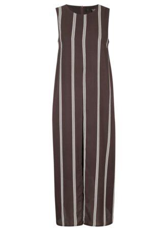 Sukienka szyfonowa bonprix ciemnobrązowo-biel wełny w paski