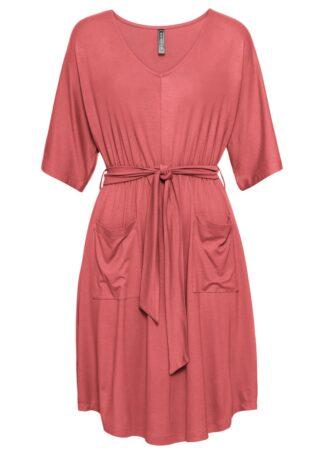 Sukienka z wiązanym paskiem i kieszeniami bonprix rabarbarowy