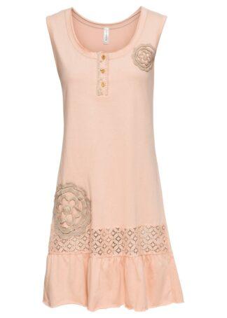 Sukienka z dżerseju z ozdobnymi elementami bonprix szampan - brunatny