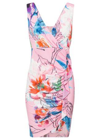 Sukienka bonprix różowo-czerwono-niebieski w roślinny wzó