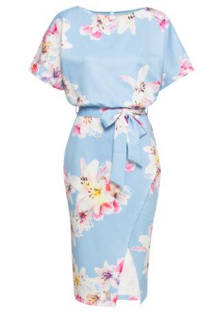 Sukienka z efektem założenia kopertowego bonprix jasnoniebiesko-jasnoróżowy w kwiaty